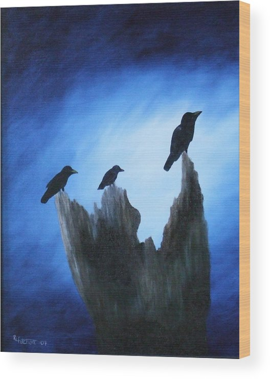 Birds Wood Print featuring the painting Watching For Company by Rebecca Fitchett