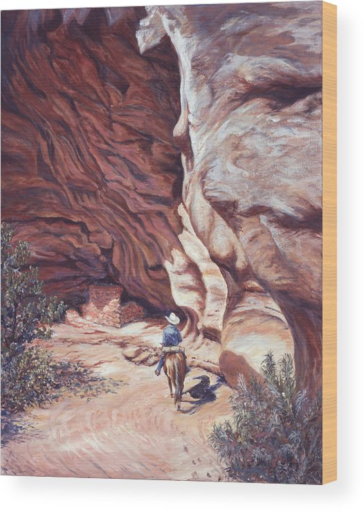 Landscape Wood Print featuring the painting We Have A Visitor by Page Holland