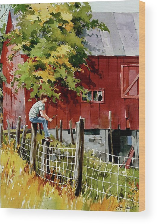Boy And Barn Wood Print featuring the painting What If by Art Scholz