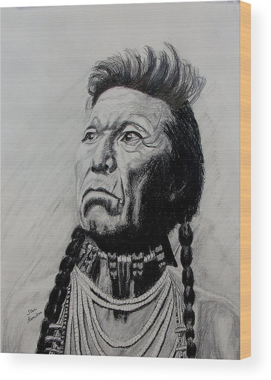 Indian Wood Print featuring the drawing Whirlwind by Stan Hamilton