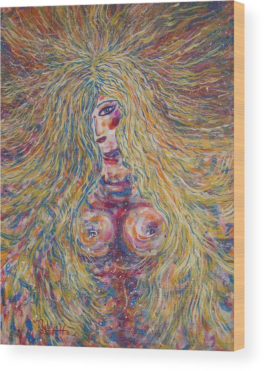Nude Wood Print featuring the painting Wild Passion by Natalie Holland