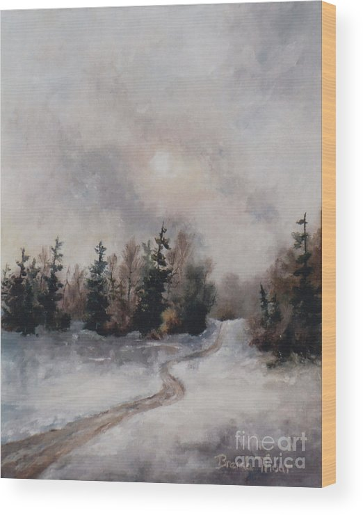 Winter Wood Print featuring the painting Winters Sunset by Brenda Thour