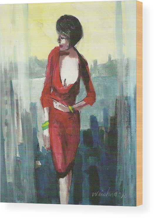 Figurative Wood Print featuring the painting Woman In Red Dress By Condo Window by Harry Weisburd