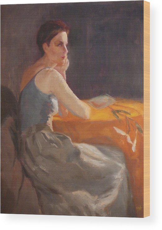 Young Woman Dressed In Modern Outfit Seated At A Table On Which A Single Stem Of White Lily Lies. Wood Print featuring the painting Sold Woman With Lily by Irena Jablonski