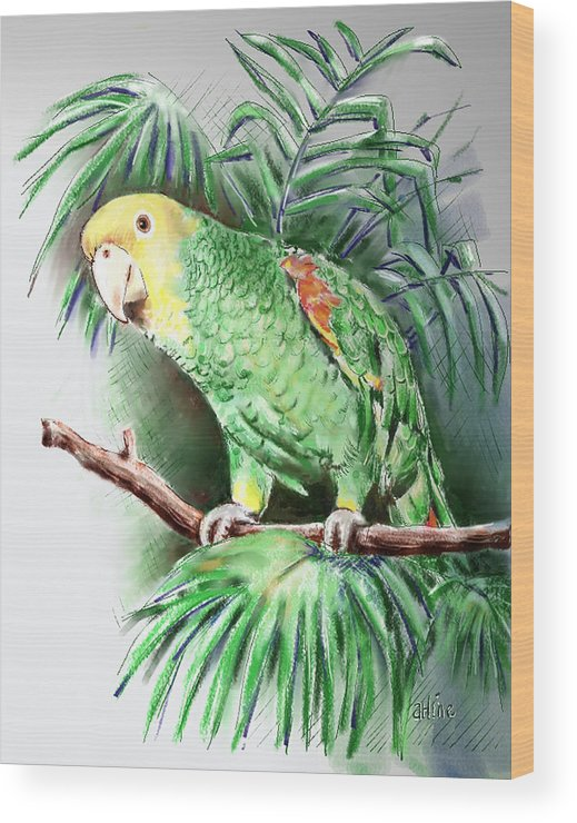 Bird Wood Print featuring the digital art Yellow-headed Amazon Parrot by Arline Wagner