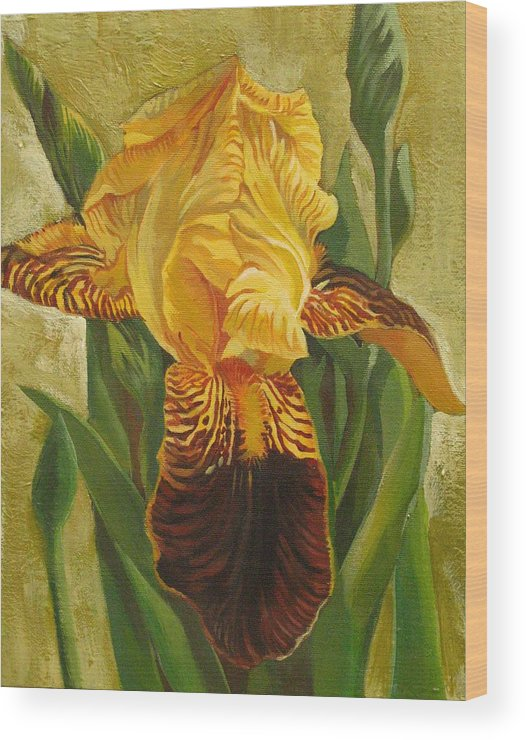 Iris Wood Print featuring the painting Yellow Iris by Alfred Ng