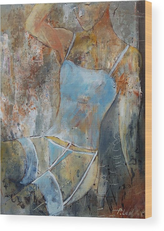 Nude Wood Print featuring the painting Young Girl 451108 by Pol Ledent