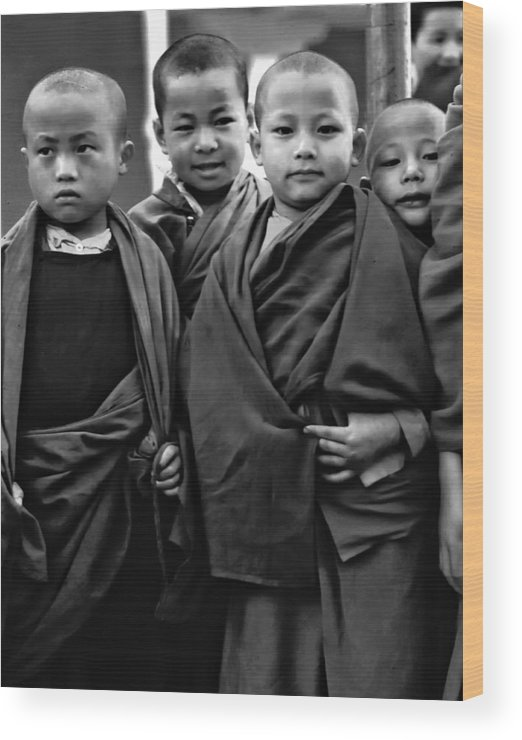 Buddhism Wood Print featuring the photograph Young Monks II Bw by Steve Harrington