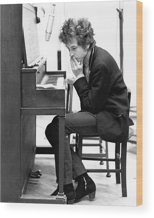 Piano Wood Print featuring the photograph Bob Dylan Records Highway 61 Revisited by Michael Ochs Archives