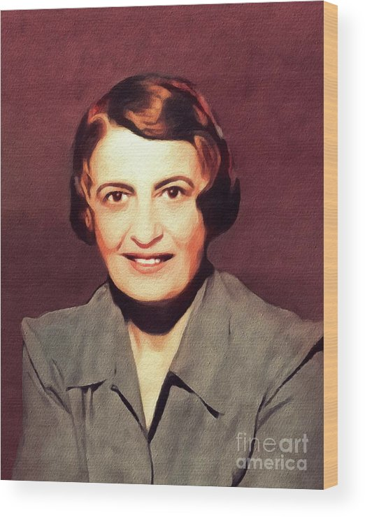 Ayn Wood Print featuring the painting Ayn Rand, Literary Legend by John Springfield