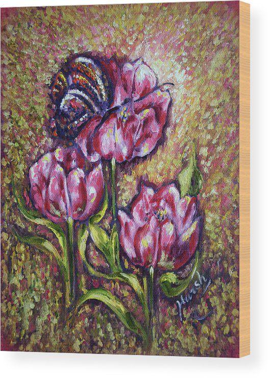 Blossom Wood Print featuring the painting Blossom by Harsh Malik