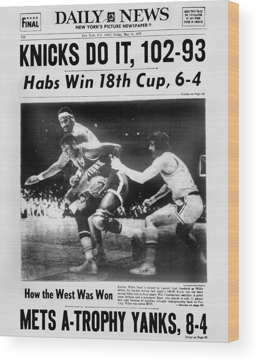 Playoffs Wood Print featuring the photograph Daily News Back Page May 11, 1973 by New York Daily News Archive