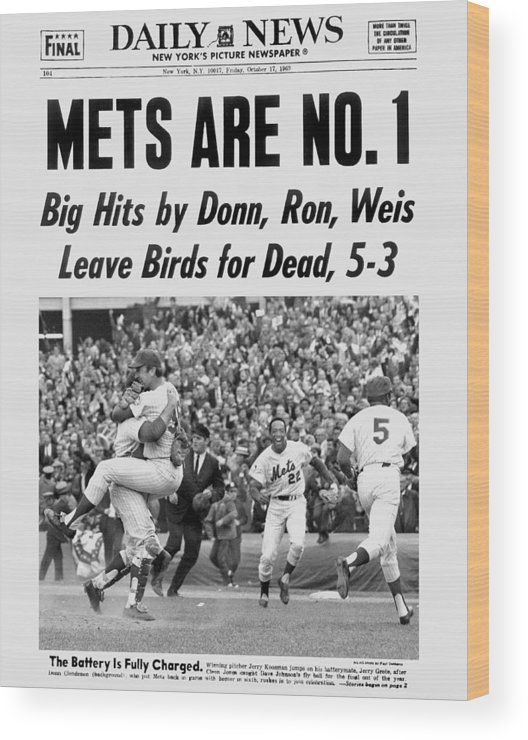 American League Baseball Wood Print featuring the photograph Daily News Front Page October 17, 1969 by New York Daily News Archive