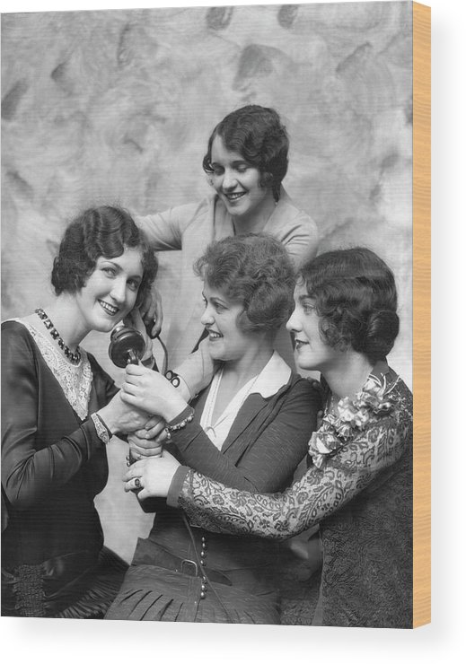 People Wood Print featuring the photograph Four Smiling, Marcel-waved Women. One by H. Armstrong Roberts
