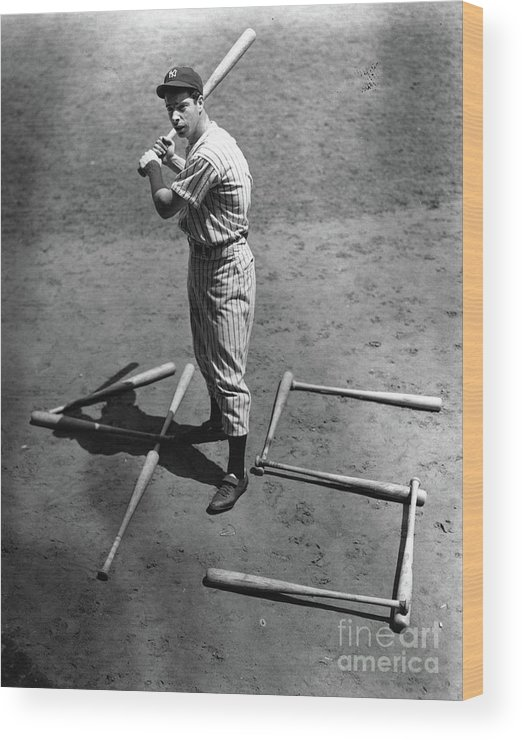 People Wood Print featuring the photograph Joe Dimaggio 45 Home Runs 1937 by Transcendental Graphics