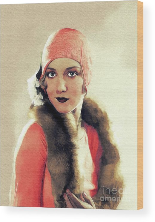 Leila Wood Print featuring the painting Leila Hyams, Vintage Actress by John Springfield