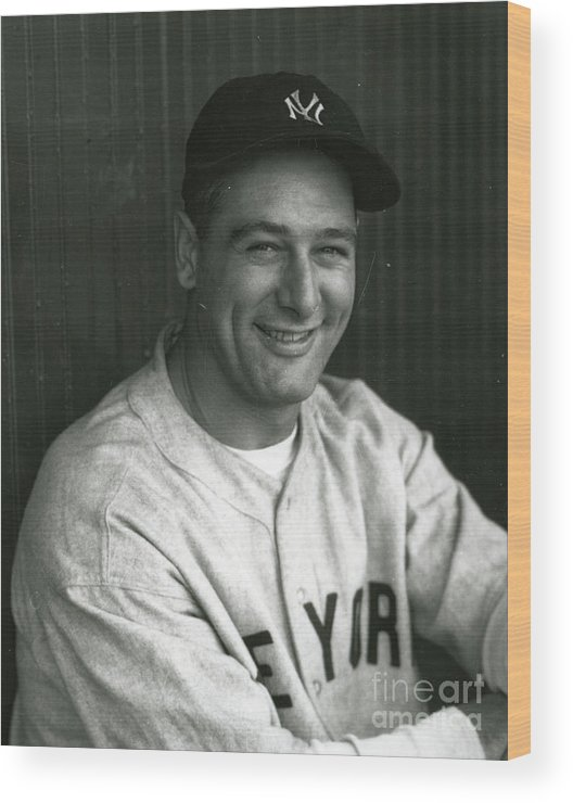 People Wood Print featuring the photograph Lou Gehrig Dugout Portrait by Transcendental Graphics
