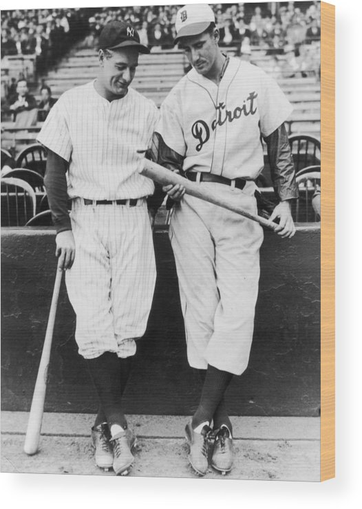 Baseball Cap Wood Print featuring the photograph Hank Greenberg And Lou Gehrig by Fpg