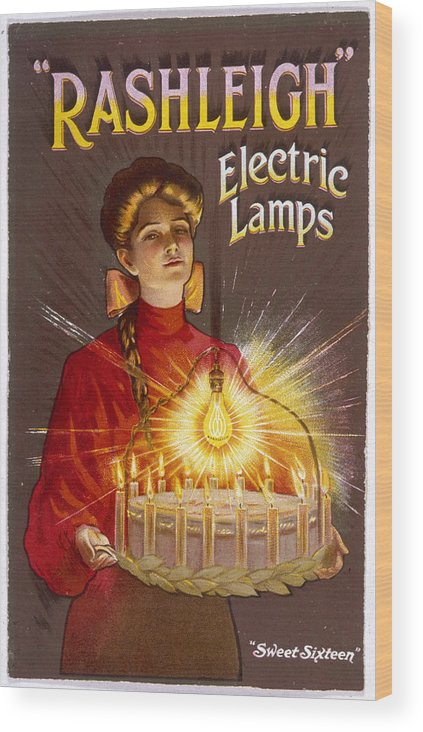 Advert Wood Print featuring the drawing Rashleigh Electric Lamps     Date by Mary Evans Picture Library