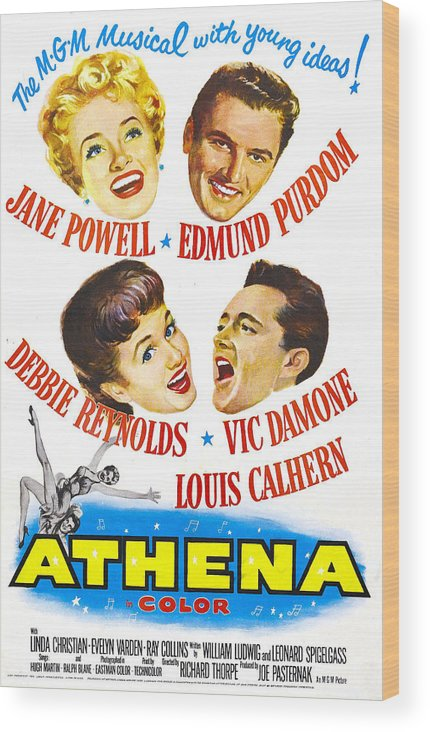 1950s Poster Art Wood Print featuring the photograph Athena, Us Poster, From Top Left by Everett