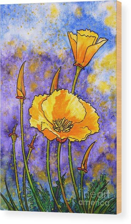 California Poppies Wood Print featuring the painting California Poppies by Zaira Dzhaubaeva