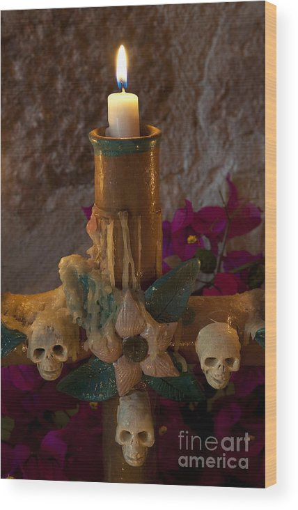 San Miguel De Allende Wood Print featuring the photograph Candle On Day Of Dead Altar by John Shaw