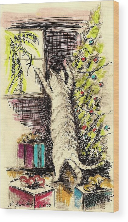 Greeting Card Wood Print featuring the pastel Christmas Cat by David Francke