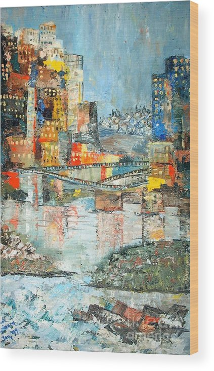 Cityscape Wood Print featuring the painting City By The River - Sold by Judith Espinoza