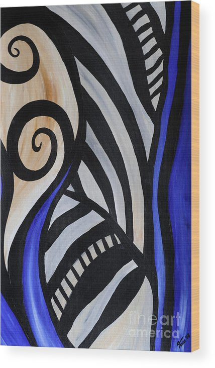 Abstract Wood Print featuring the painting Composition by Eva-Maria Becker