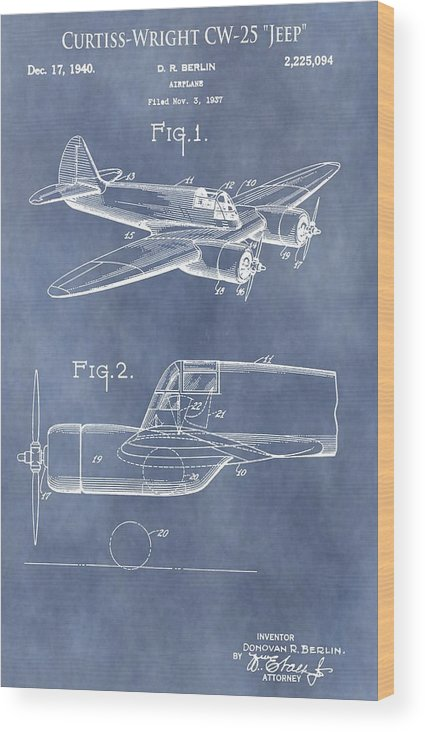 Curtiss-wright Airplane Patent Wood Print featuring the mixed media Curtiss-wright Cw-25 Patent by Dan Sproul
