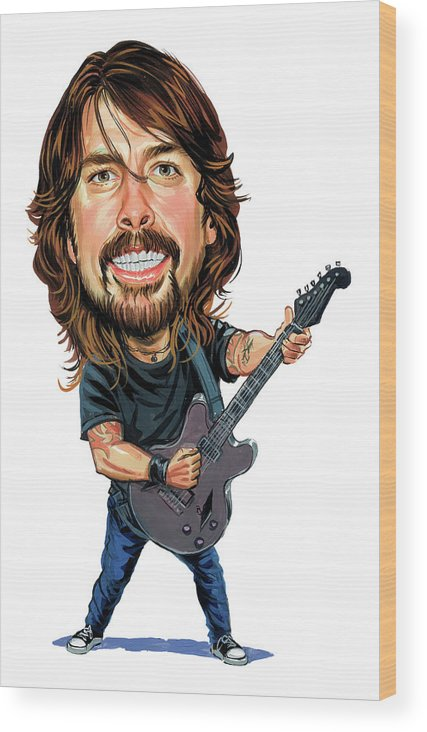 Dave Grohl Wood Print featuring the painting Dave Grohl by Art