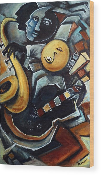 Cubism Wood Print featuring the painting Indigo Blues by Valerie Vescovi