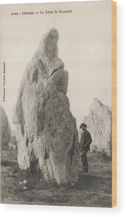 France Wood Print featuring the photograph Menhir Known As 'le Geant De Kermario' by Mary Evans Picture Library