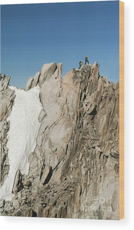 Alpinists Wood Print featuring the photograph Mountaineers, French Alps by Duncan Shaw