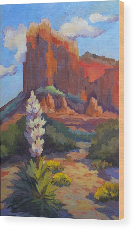 Sedona Wood Print featuring the painting Yucca At Sedona by Diane McClary
