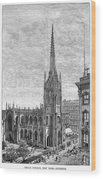 1883 Wood Print featuring the photograph Grace Church, 1883 by Granger
