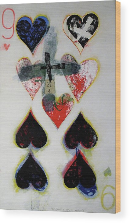 Acrylic Wood Print featuring the painting Nine Of Hearts 21-52 by Cliff Spohn