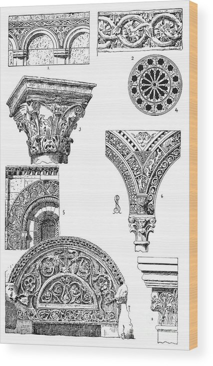 Ancient Wood Print featuring the photograph Romanesque Ornament by Granger