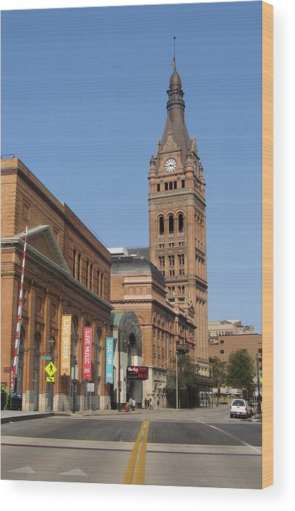 Milwaukee Wood Print featuring the photograph Wells Street Theater District And City Hall by Anita Burgermeister