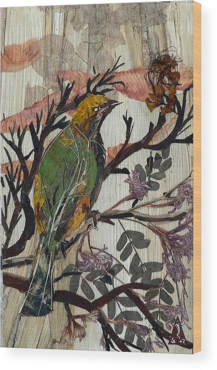 Green Bird Wood Print featuring the mixed media Green-yellow Bird by Basant Soni