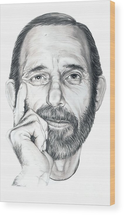Pencil Wood Print featuring the drawing Self Portrait by Murphy Elliott