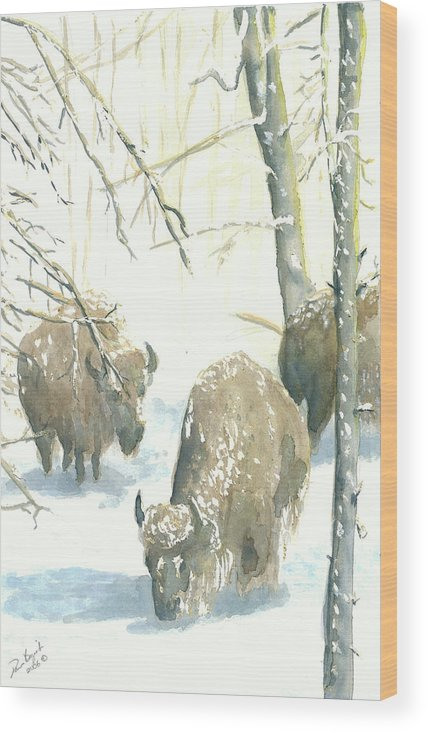 Buffalos After Snowstorm Wood Print featuring the painting Snow Buffs by Dan Bozich