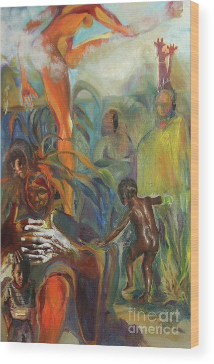 Collage Wood Print featuring the mixed media Ancestor Dance by Daun Soden-Greene