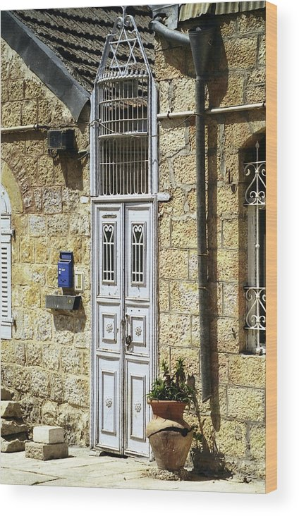 Door Jerusalem Photo Photograph Photogrpher Wood Print featuring the photograph old suburb in Jerusalem. by Shlomo Zangilevitch