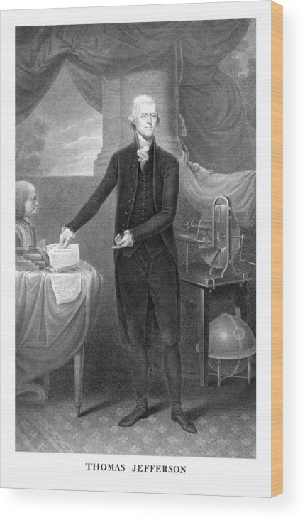 Thomas Jefferson Wood Print featuring the mixed media Thomas Jefferson by War Is Hell Store