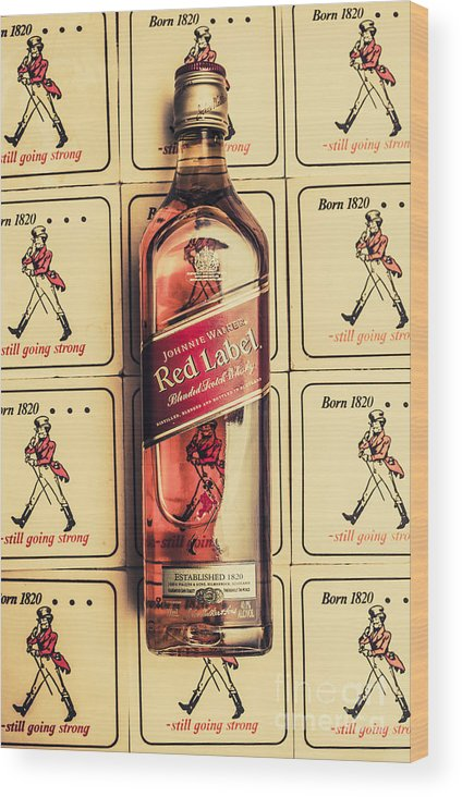 Johnnie Wood Print featuring the photograph Bar Wall Art. Old Johnnie Walker Red Label by Jorgo Photography - Wall Art Gallery