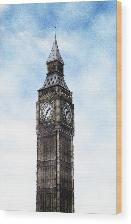Big Wood Print featuring the painting Big Ben, Parliament, London by Mary Bassett