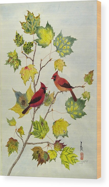 Bird Wood Print featuring the painting Birds On Maple Tree 2 by Ying Wong
