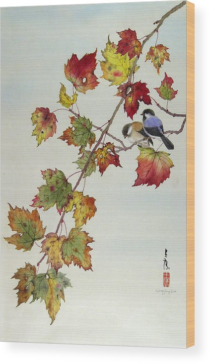 Bird Wood Print featuring the painting Birds On Maple Tree 4 by Ying Wong