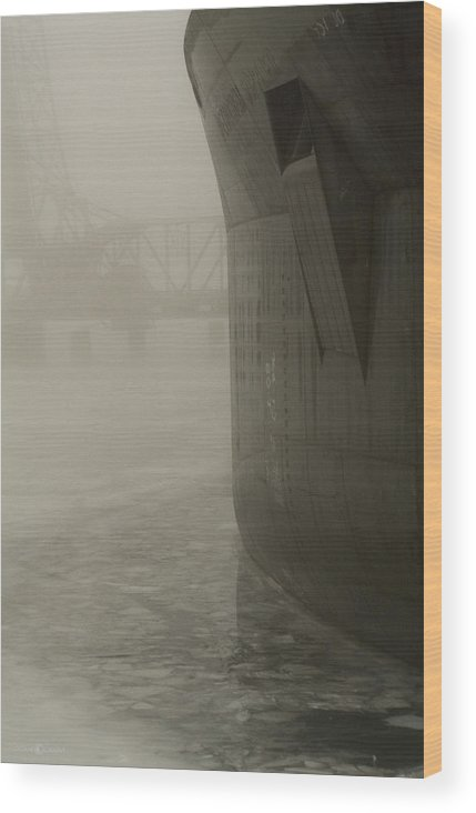 Water Wood Print featuring the photograph Bridge And Barge by Tim Nyberg